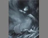 "Art PRINT - Skull Storm Lightning Viking Longboat Ship Lovecraftian Horror Fantasy Ocean Storm Wall Art - Choose Size 4x6"" 5x7"" 8x10"" PRINTS"