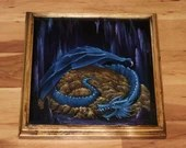 """12x12"""" Original Oil Painting - Blue Dragon's Horde Lair Enchanted Cave Gold - Fantasy Canvas Painting Wall Art"""