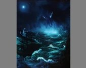 "Art PRINT - Blue Green Ship Ocean Cthulhu Monster Tentacles Night - Lovecraftian Fantasy Horror Wall Art - Choose Size 4x6"" - 11x14"" PRINTS"