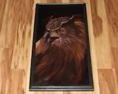 "12x24"" Original Oil Painting - Great Horned Owl Bird of Prey Owls Birds Ornithology - Animal Wall Art"