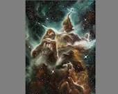 "Art PRINT - Green Brown Mystic Mountain Carina Nebula - Outer Space Galaxy Astronomy Wall Art - Choose Size 4x6"" 5x7"" 8x10"" 12x16"" PRINTS"
