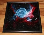 """16x16"""" Original Oil Painting - Thor's Helmet Nebula Galaxy Outer Space Deep Space Astronomy Stars Starry Wall Art"""