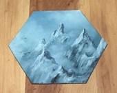 "5-6"" Original Mini Oil Painting Hexagon Flat Panel - Foggy Cloudy Mountain Mountains Landscape  - Small Canvas Wall Art"