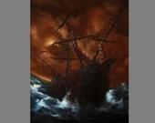 "Art PRINT - Brown Blue Ship Ocean Monster Tentacles - Lovecraftian Fantasy Horror Wall Art - Choose Size 4x6"" - 12x16"" PRINTS"