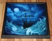 "16x16"" Original Oil Painting - Blue Green Night Waves Ocean Sailing Ship Boat Evening Moon Ship of Sail - Fantasy Seascape Wall Art"