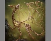 "Art PRINT - Green Yellow Bone Dragon Evil Dead Undead - Spooky Horror Macabre Dark Fantasy Wall Art - Choose Size 8x8"", 10x10"" 12x12"" PRINTS"