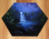 "5-6"" Original Mini Oil Painting Hexagon Flat Panel - Blue Purple Enchanted Forest Waterfall Lake Night Landscape - Small Canvas Wall Art"