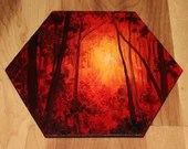 """5-6"""" Original Mini Oil Painting Hexagon Flat Panel - Sunset Forest Red Orange Yellow Trees Silhouette  - Small Canvas Wall Art"""