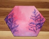 """5-6"""" Original Mini Oil Painting Hexagon Flat Panel - Pink Purple Trees Valley Forest Landscape - Small Canvas Wall Art"""