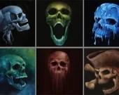 "4x4"" Magnet Skull Skeleton Human Skull  Art Print Refrigerator Thin Flat Square Magnet Stocking Stuffers"