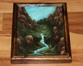 """8x10"""" Original Oil Painting - Waterfall Blue Green Mountain Valley - Small Landscape Wall Art"""