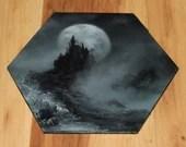 "5-6"" Original Mini Oil Painting Hexagon Flat Panel - Dark Black Gothic Spooky Enchanted Vampire Castle Night Moon - Small Canvas Wall Art"