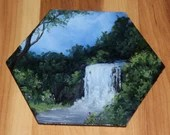 """5-6"""" Original Mini Oil Painting Hexagon Flat Panel - Green Blue Enchanted Forest Waterfall River Stream Landscape - Small Canvas Wall Art"""