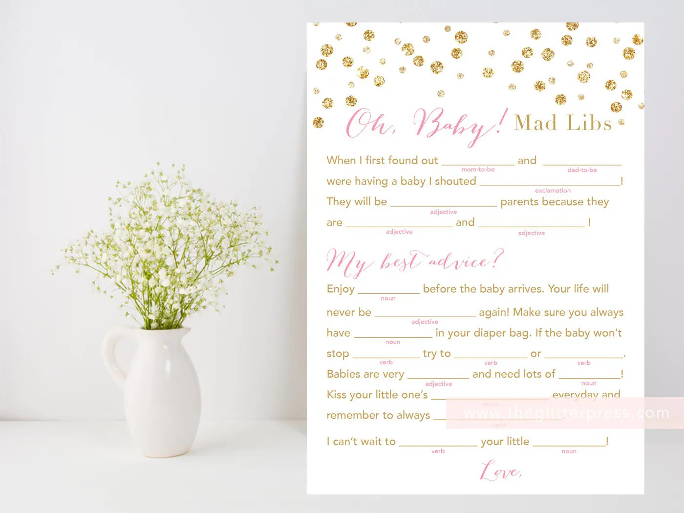 Baby Shower Mad Libs Oh Baby Mad Libs Printable Game Pink