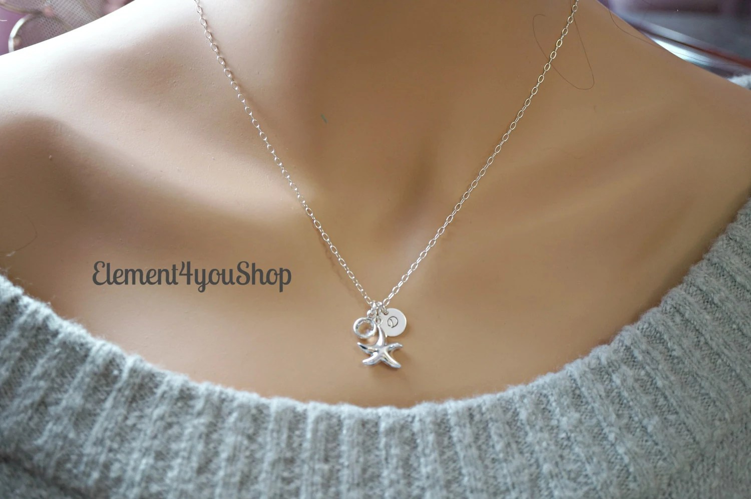 Bridesmaids Sterling Silver Starfish necklaces Personalize image 2