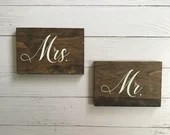 Mr and Mrs Wooden Wedding Decor Signs