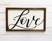 Love Script Wooden Sign
