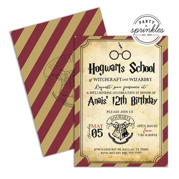 editable harry potter inspired birthday party invitation wizard invitation harry potter party printables decor harry potter school