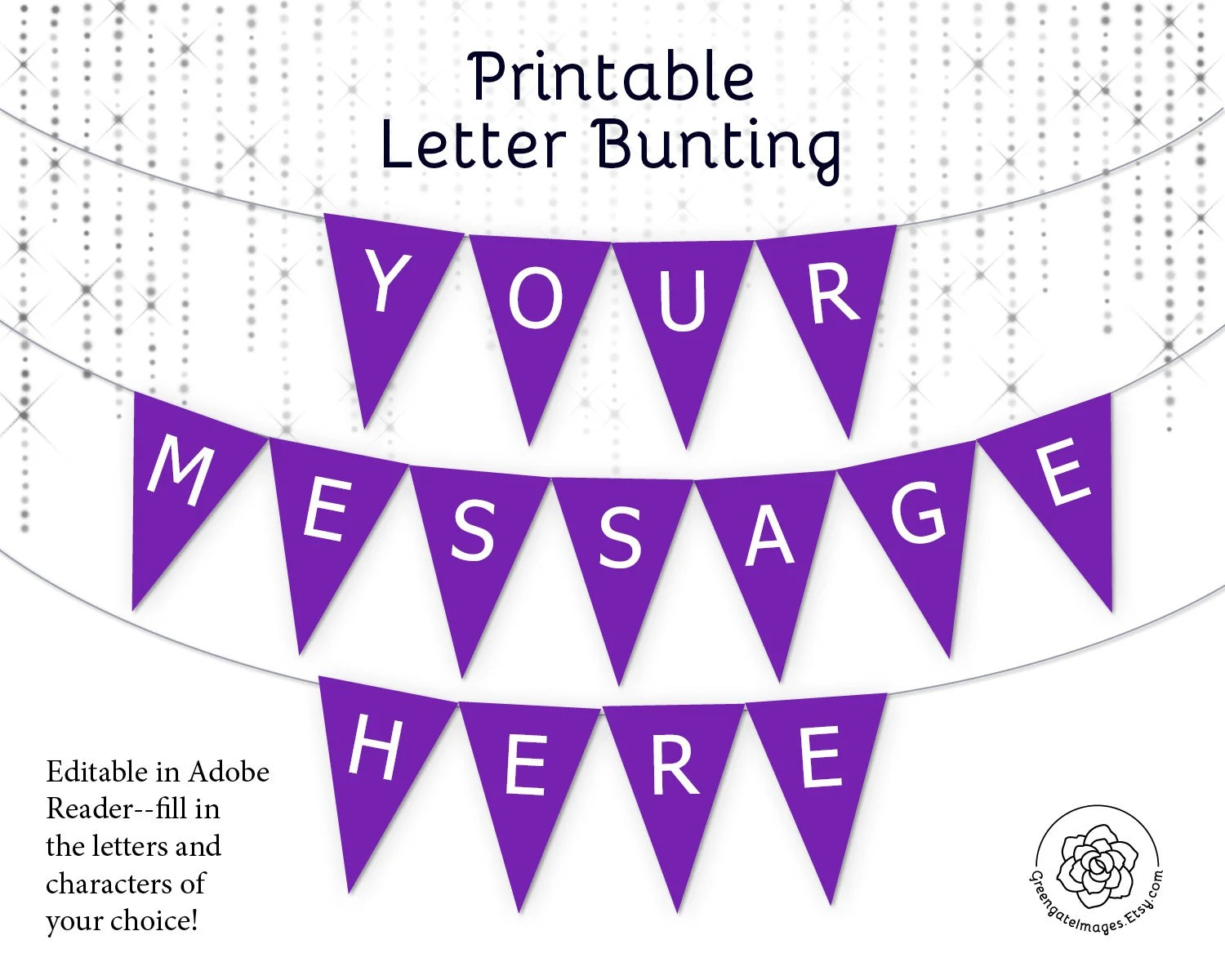 Purple Letter Banner Bunting Printable Editable Banner Party Decor Party Printable Custom Banner Message Solid Template Bachelorette