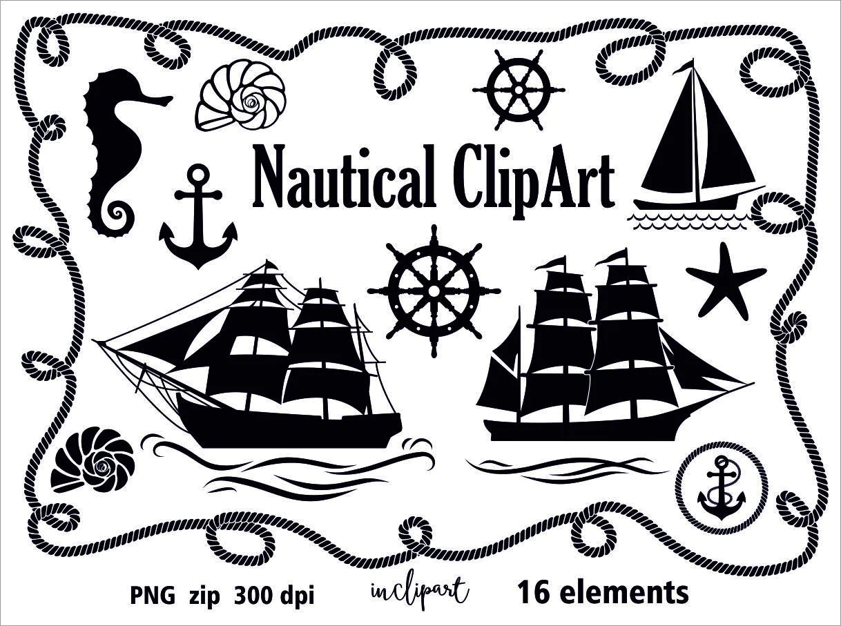 Nautical Clip Art Sail Ship Anchor Seashell Wheel Rope