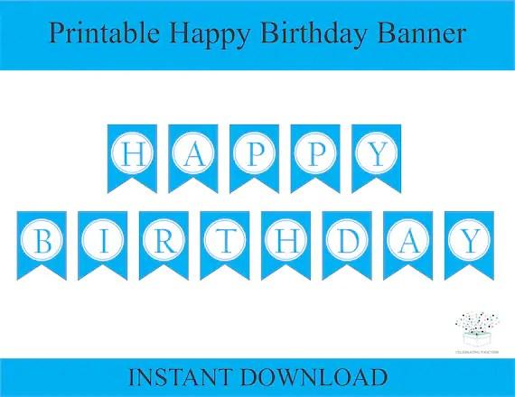 Printable Happy Birthday Banner Instant Download 1st Birthday Etsy