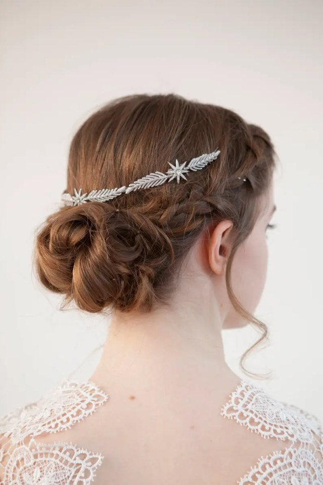 wedding headpiece with stars - art deco bridal hair accessory - silver crystal hair vine - bridal headpiece for back of head