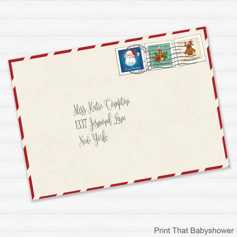 Printable Envelope For Letter From Santa Or Christmas