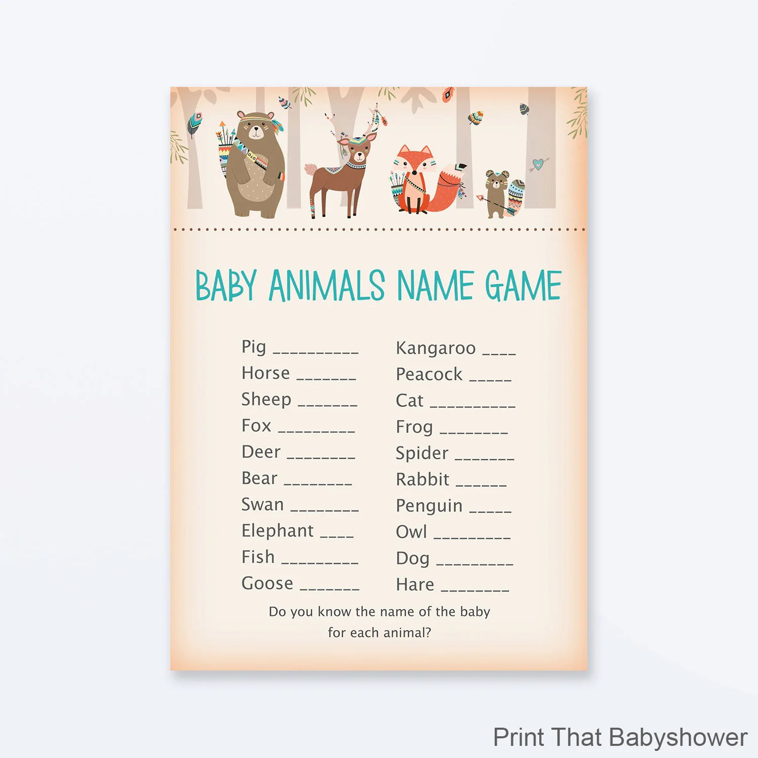 Baby Shower Games Baby Animals Name Game Woodland Baby