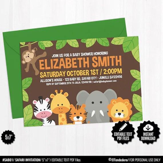 Self Editable Safari Baby Shower Invitation Template Printable Jungle Theme Invite Cute Gender Neutral Baby Shower Cards Digital Download