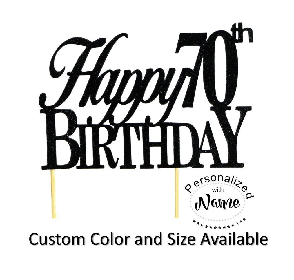 Happy 70th Birthday Cake Topper 1pc Glitter Cake Topper Etsy