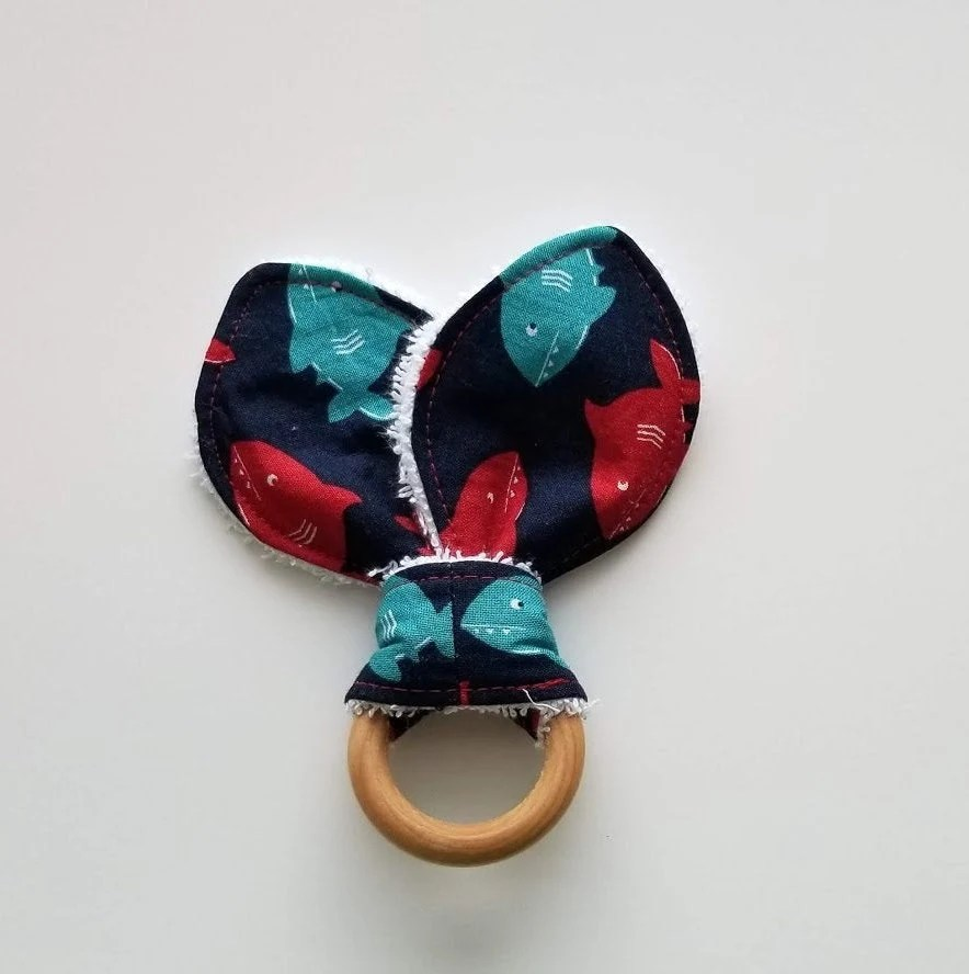 sharks teething ring/ red and blue swimming sharks teether/ image 4