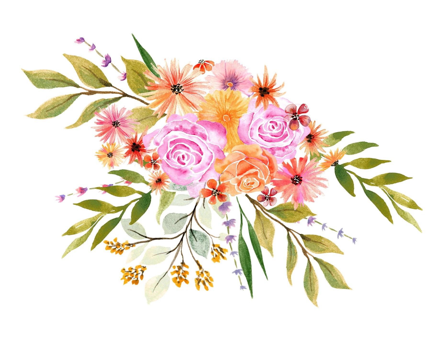 Watercolor Autumn Flowers Bouquet Watercolor Clipart