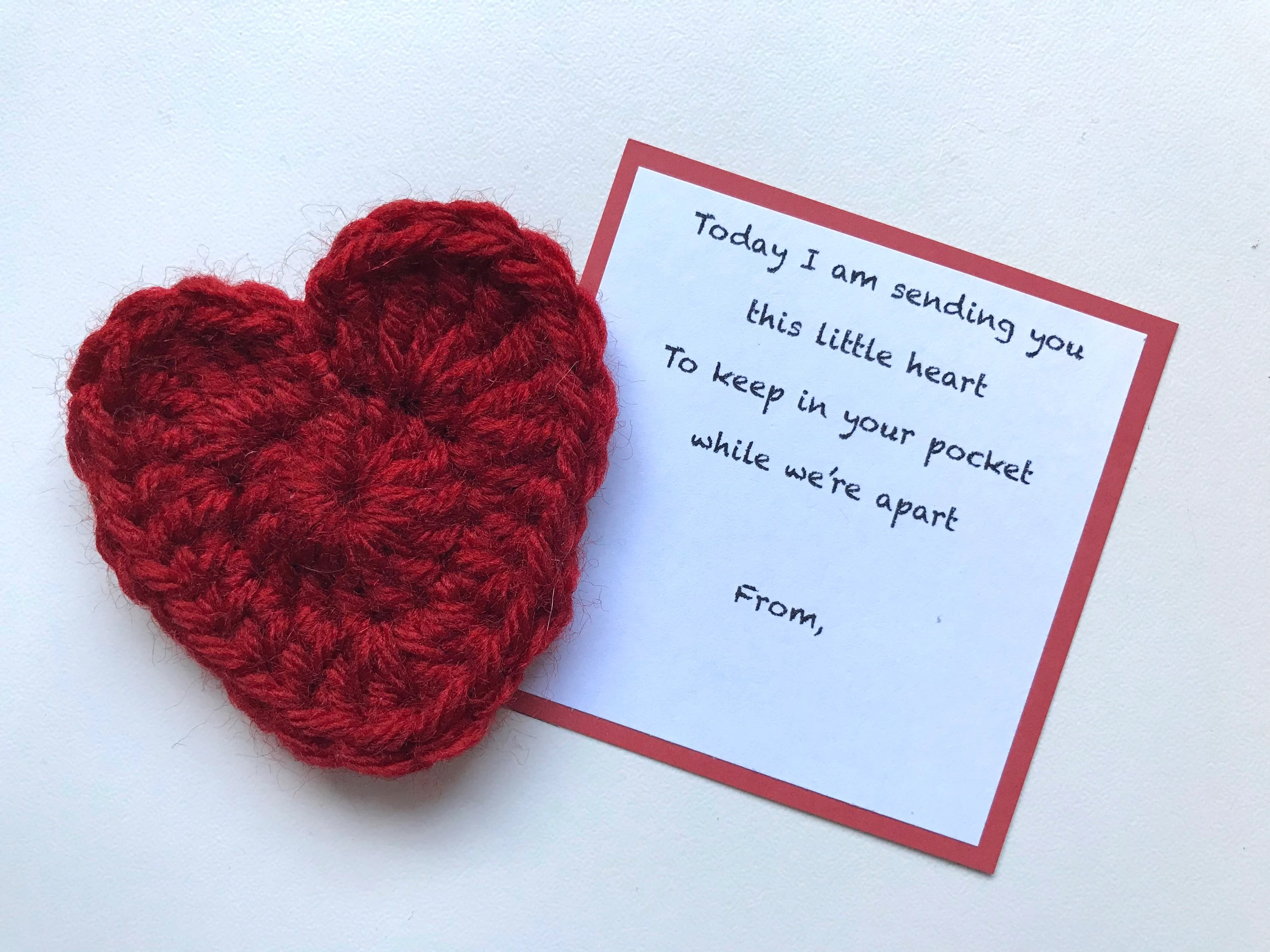 Crocheted Pocket Heart Memento And Poem Card To Send To Etsy