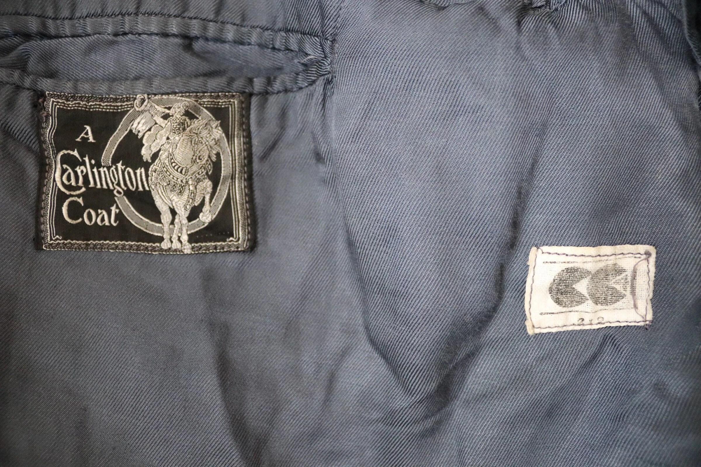 Vintage S 40s Cc41 Ww2 Blue Checked Wool Coat Overcoat