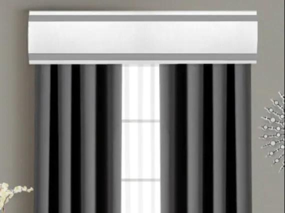 ribbon cornice board pelmet box window treatment in white with gray stripe trim custom curtain topper box valance