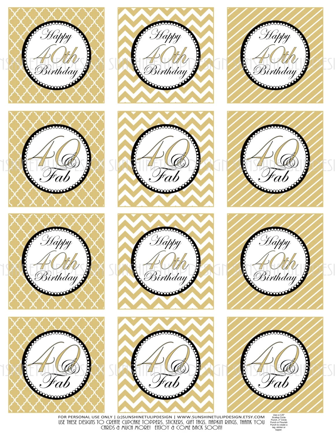 40th Birthday Cupcake Toppers Printable Gold And Black 40th Etsy