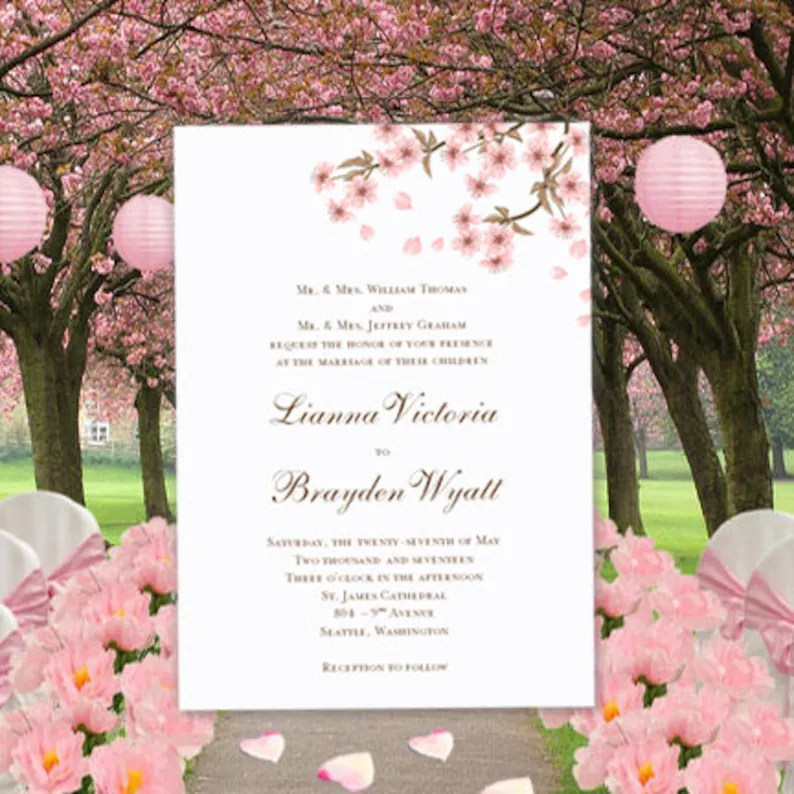 Cherry Blossom Printable Wedding Invitations Editable Word Doc Instant Download Make Your Own Invitations Diy Template You Print