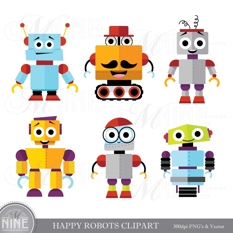 Happy Robots Clip Art Cute Robot Clipart Downloads