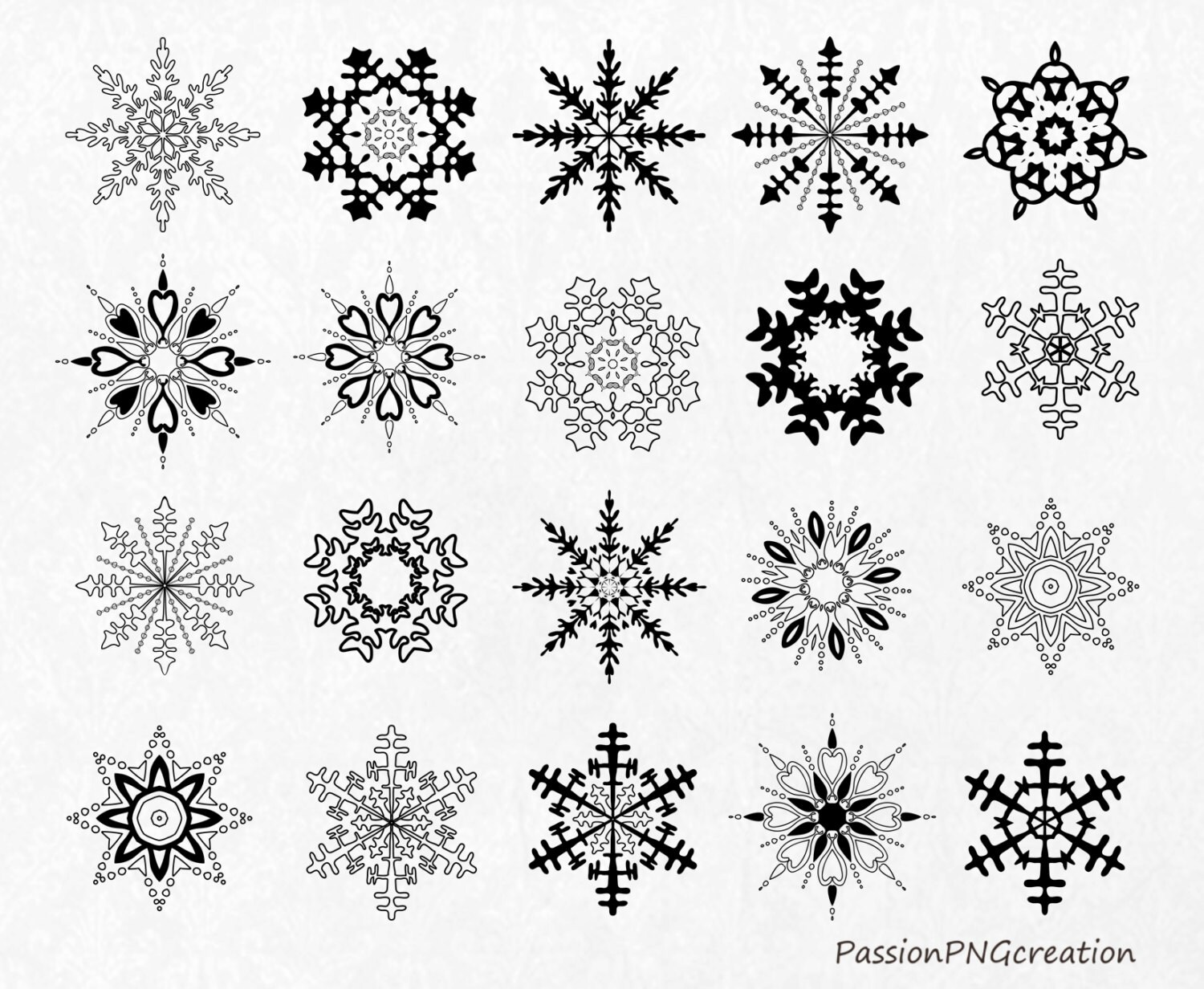 Black Snowflakes Clipart Christmas Clipart Snowflakes Clip