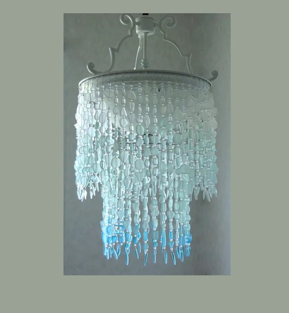 sea glass chandelier lighting fixture coastal decor blue ombre etsy
