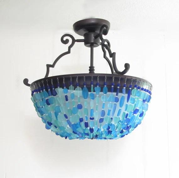 sea glass chandelier lighting fixture beach glass ceiling etsy