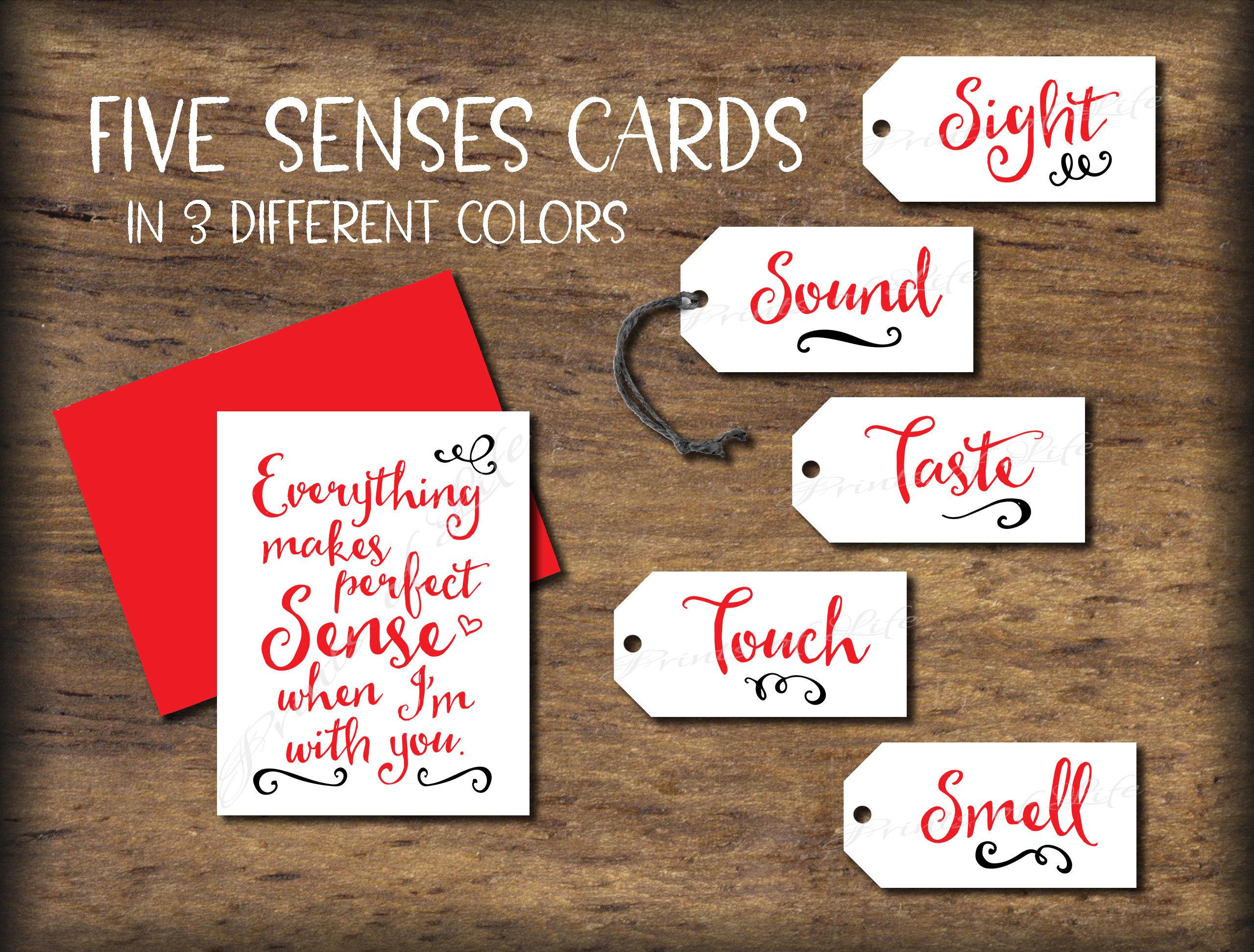 Five Senses T Tags Amp Card 5 Senses Instant Download