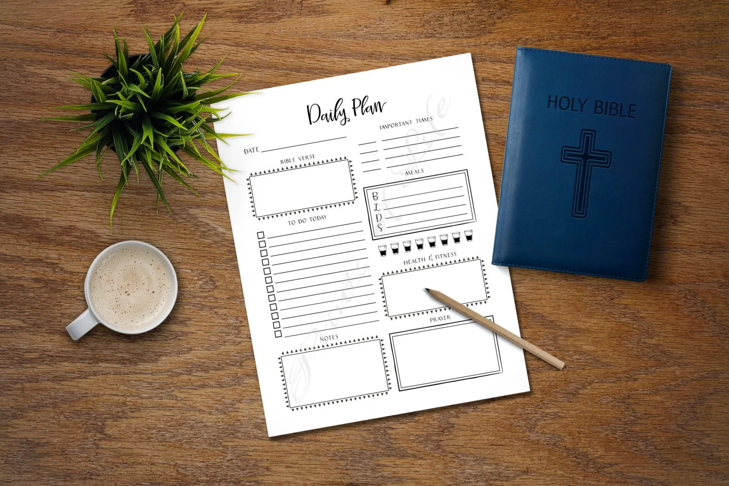 Daily Plan Printable Instant Download Christian Day