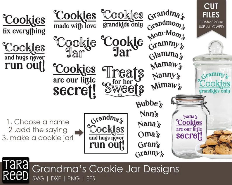 Download Grandma's Cookie Jar Designs Family SVG and Cut Files | Etsy
