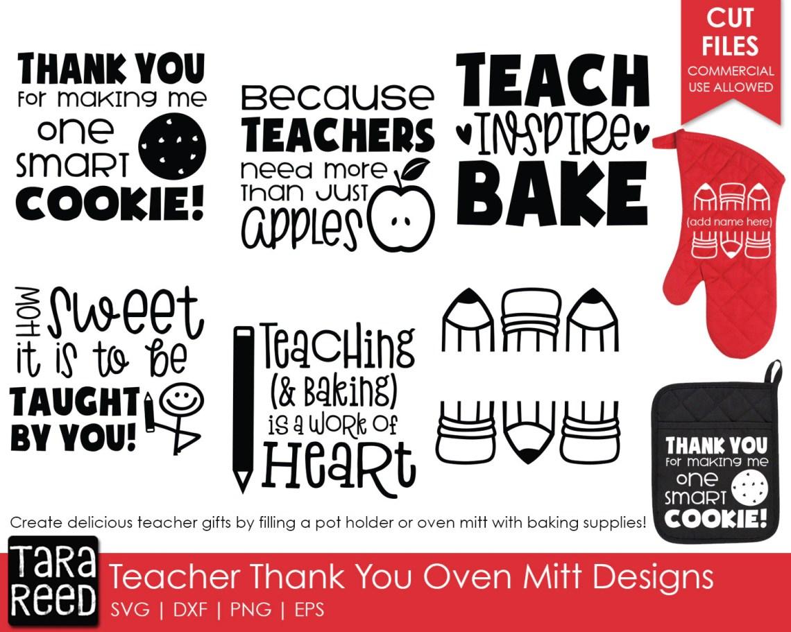 Teacher Thank You Oven Mitt Designs Teacher SVG and Cut | Etsy