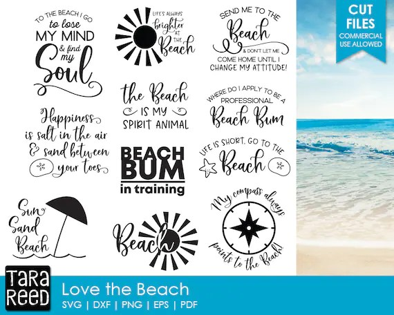 Download Love the Beach Beach SVG and Cut Files for Crafters | Etsy