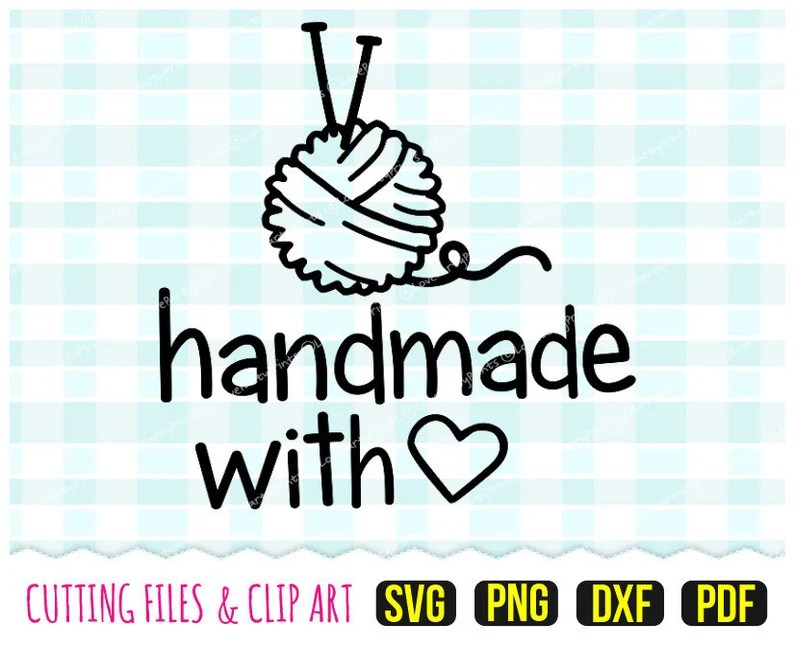 Download Handmade with love Svg DXF PNG PDF Heart Svg Knitting   Etsy