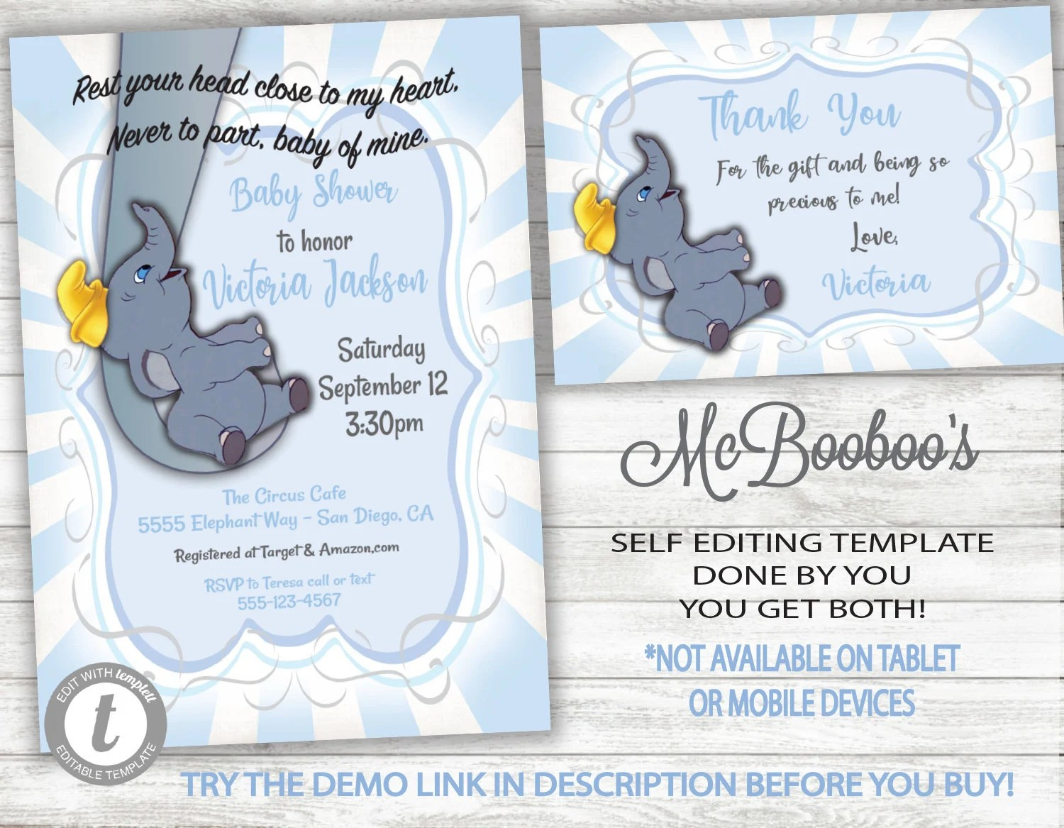 Dumbo Baby Mine Boy Baby Shower Invitation And Thank You Note Card Template Printable Invite Instant Download Editable Text Templett