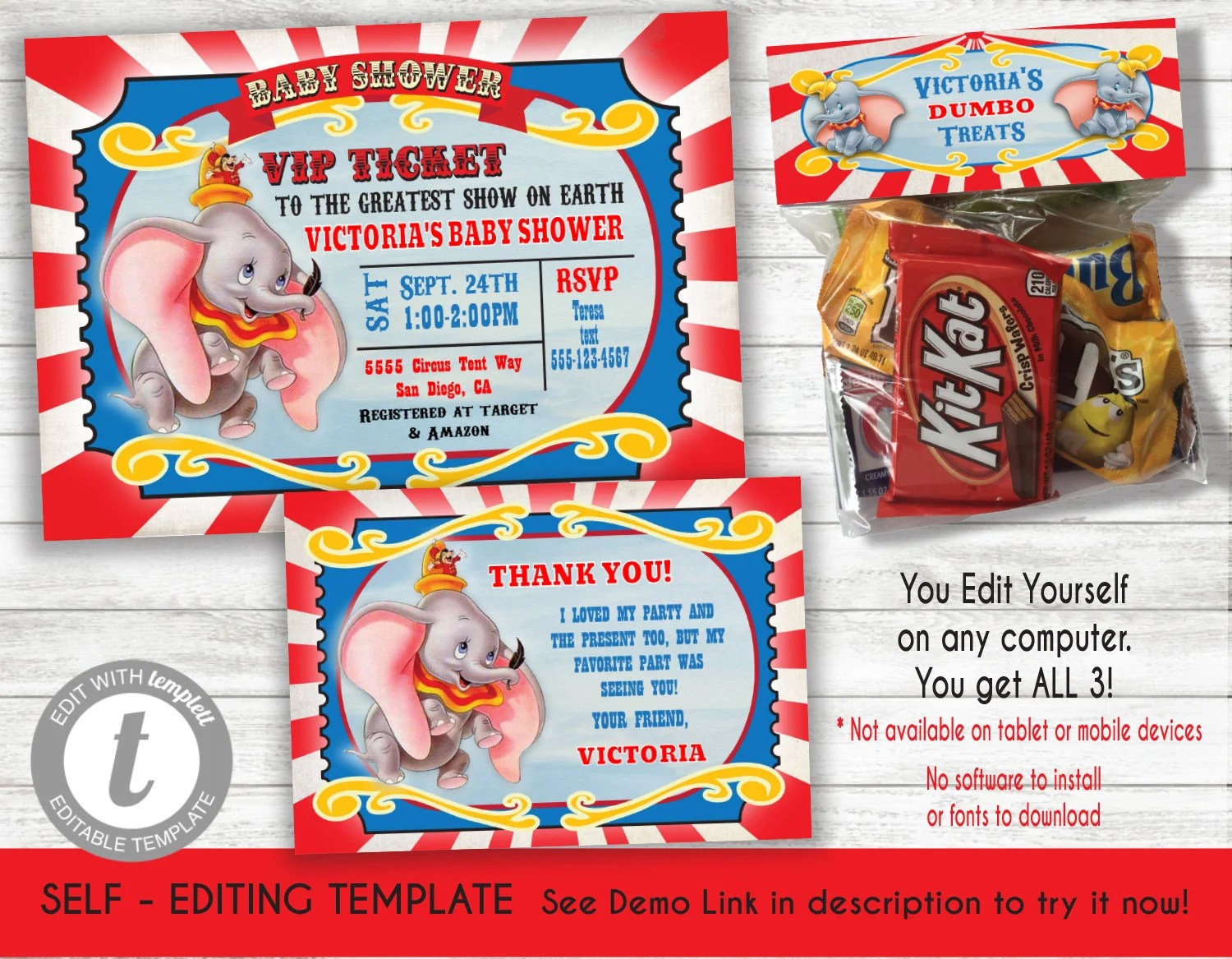 Dumbo Movie Baby Shower Invitation Thank You Note Card Candy Bag Topper Template Printable Invite Instant Download Editable Text