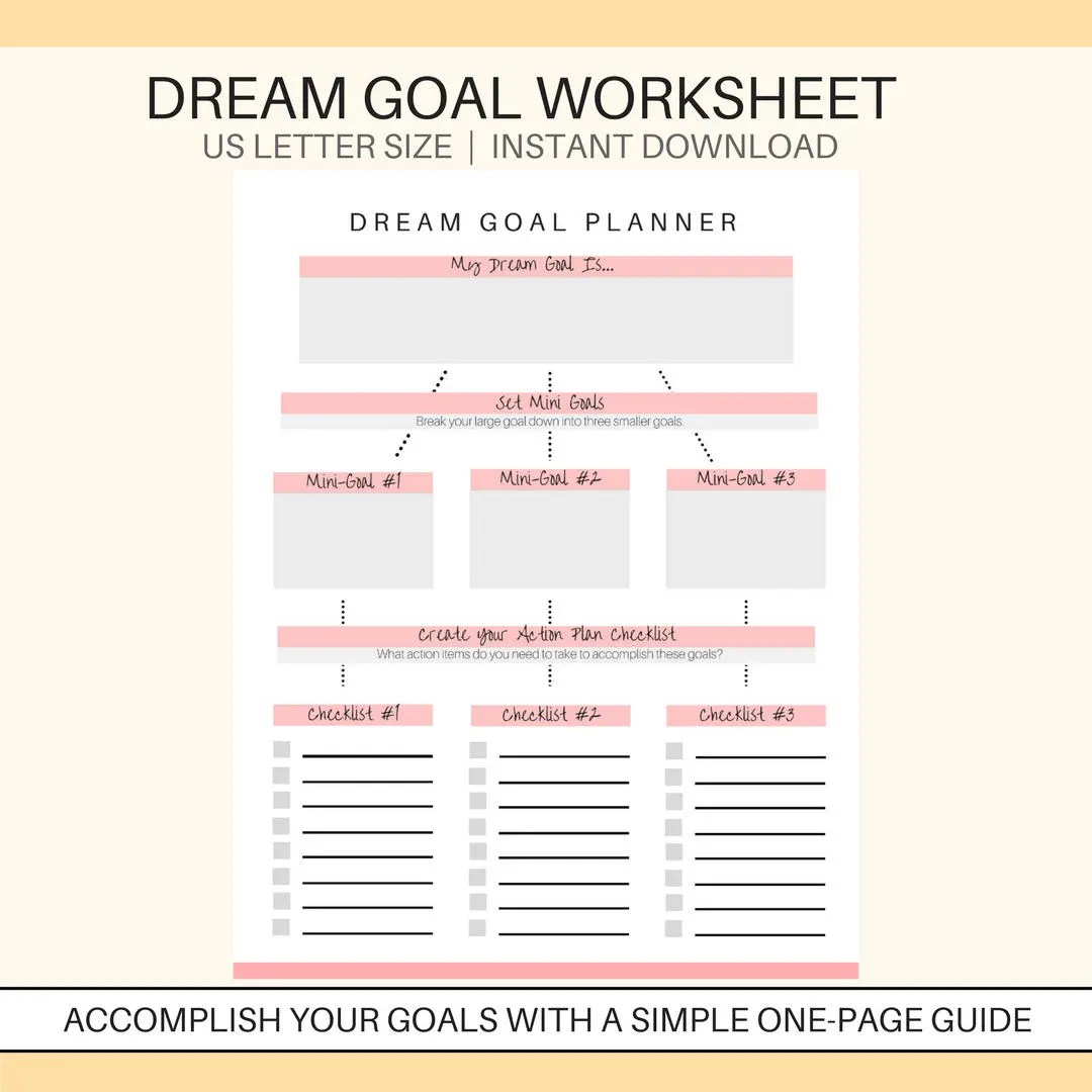 Dream Goal Planner Printable Goal Setting Printable